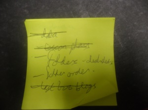 Day 0's 'to do list' at the end of the day - source of my undoing?